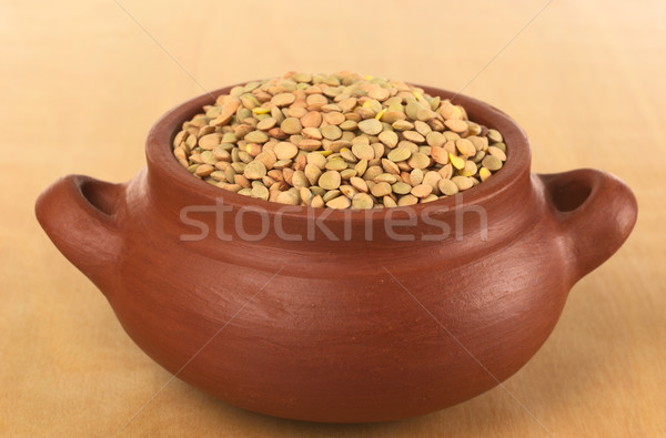 Stock photo: Raw Dried Lentils in Rustic Bowl