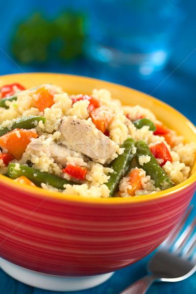 Couscous pollo fagioli verdi carota piatto Foto d'archivio © ildi