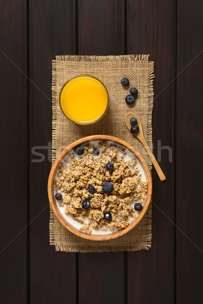 Ontbijtgranen bosbessen melk gedroogd bes Stockfoto © ildi