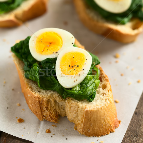 Crostini with Spinach and Quail Egg Stock photo © ildi