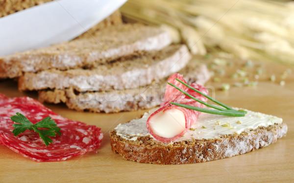 Salami and Cream Cheese on Brown Bread Stock photo © ildi