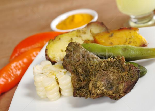 伝統的な 食事 高地 異なる 肉 豆 ストックフォト © ildi