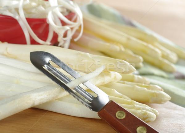 Peeling White Asparagus  Stock photo © ildi