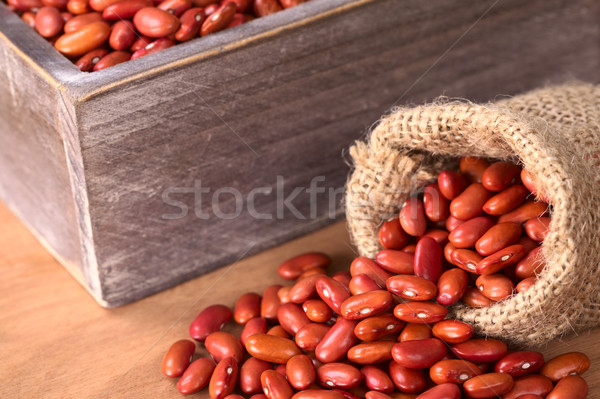 Raw Red Kidney Beans in Jute Sack and Wooden Box Stock photo © ildi