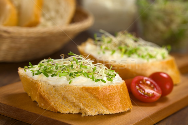 Baguette with Cream Cheese and Alfalfa Sprouts Stock photo © ildi