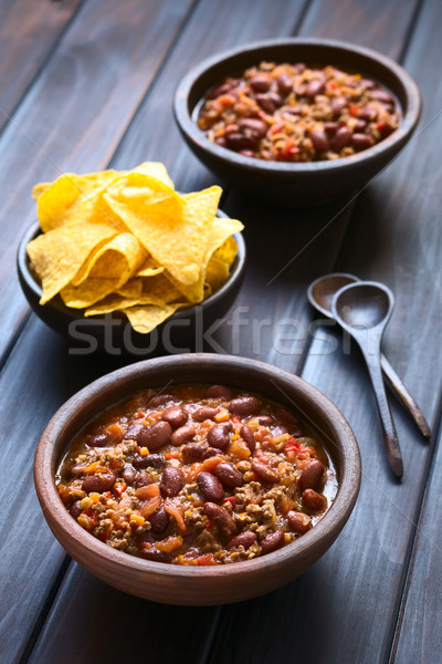 Stockfoto: Chili · twee · rustiek · kommen · tortilla · chips