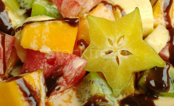 Stock fotó: Gyümölcssaláta · csokoládé · mártás · közelkép · szelektív · fókusz · zöld