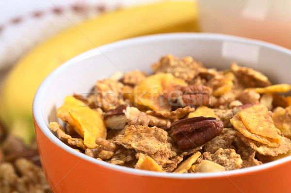 Wholewheat Cereal with Banana and Nuts Stock photo © ildi