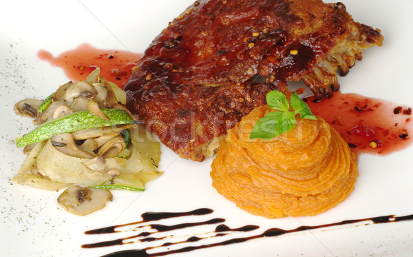 Ribs with Vegetables and Sweet Potato Puree Stock photo © ildi