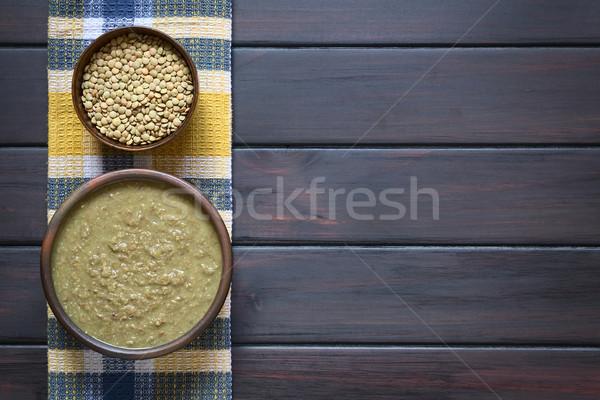 Krém lencse leves rusztikus tál nyers Stock fotó © ildi