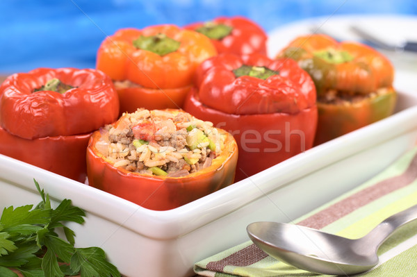 Baked Stuffed Red Bell Pepper Stock photo © ildi