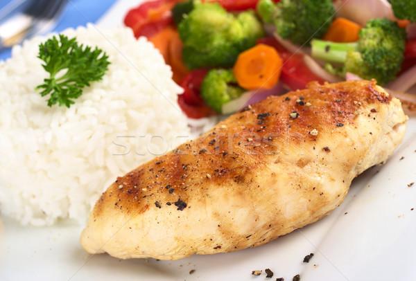 Poitrine de poulet légumes riz sein poivre Photo stock © ildi