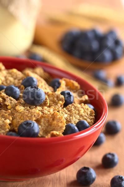 Wholewheat Flakes with Fresh Blueberries Stock photo © ildi