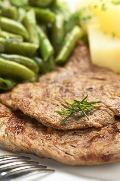 Stock photo: Beef Meat with Rosemary and Green Beans