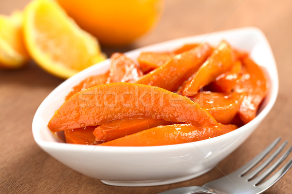 Foto stock: Batata · tazón · azúcar · moreno · frescos · jugo · de · naranja · tenedor