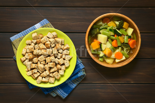 Sopa de verduras tiro placa casero tazón Foto stock © ildi