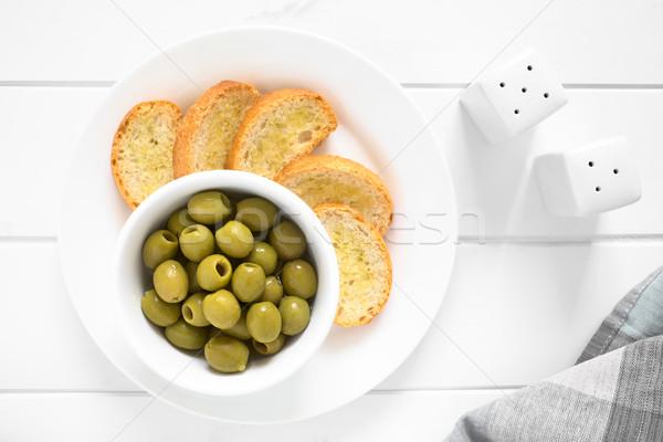 Green Olives with Crostini Stock photo © ildi
