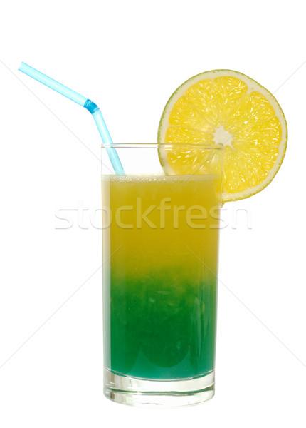 Niebieski sok pomarańczowy odznaczony pomarańczowy plasterka pitnej słomy Zdjęcia stock © ildi