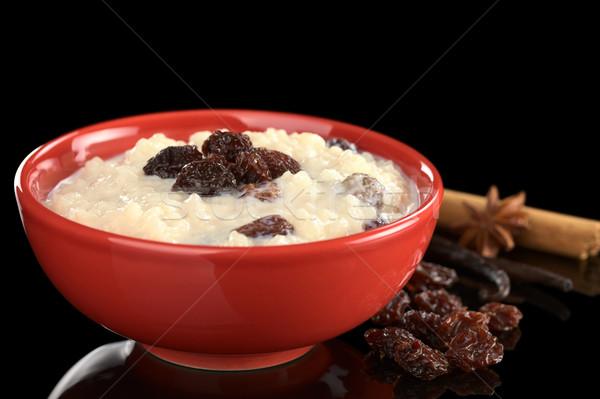 Sütlaç kuru üzüm baharatlar vanilya anason tarçın Stok fotoğraf © ildi