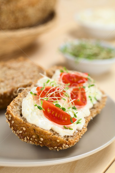 Bread with Cream Cheese, Tomatoes and Sprouts Stock photo © ildi