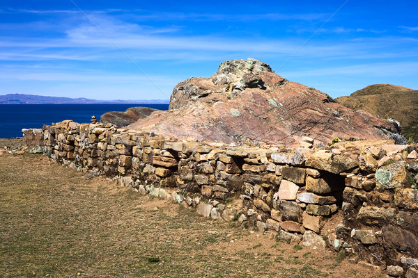 Low Stone Wall on Isla del Sol in Lake Titicaca, Bolivia Stock photo © ildi