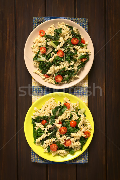 Fusilli Pasta with Chard and Tomato Stock photo © ildi