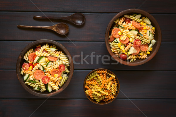 Pasta Salad with Vegetables and Sausage Stock photo © ildi
