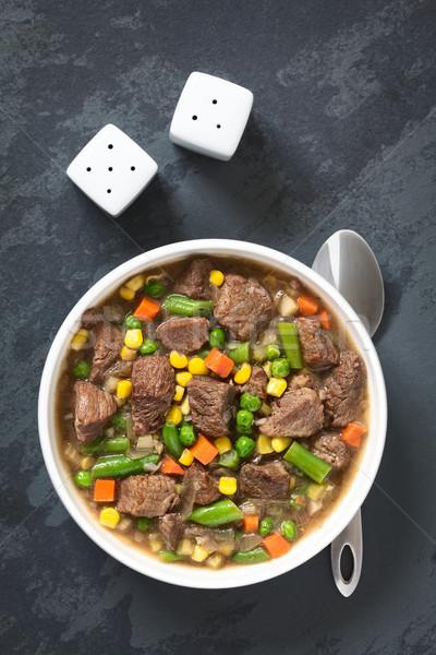 Rundvleesstoofpot soep groenten kleurrijk zomer wortel Stockfoto © ildi