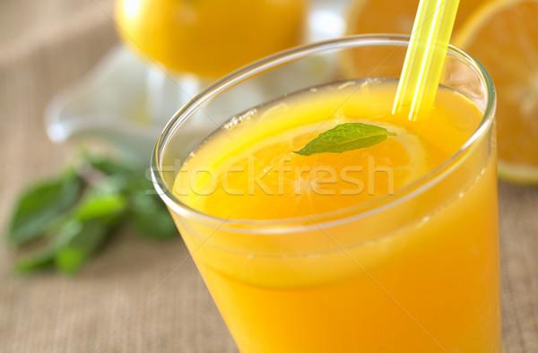 Vers sinaasappelsap vers drinken orange slice mint Stockfoto © ildi