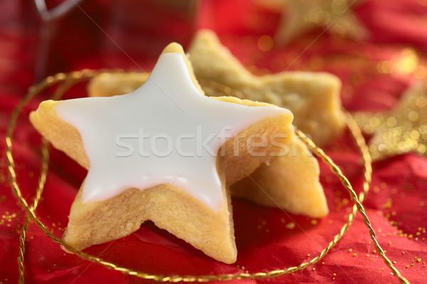 Csillag alakú süti cukor cukormáz piros Stock fotó © ildi