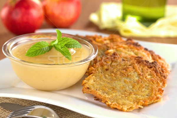 Apple Sauce and Potato Fritters Stock photo © ildi