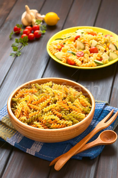 Raw Tricolor Fusilli Pasta Stock photo © ildi