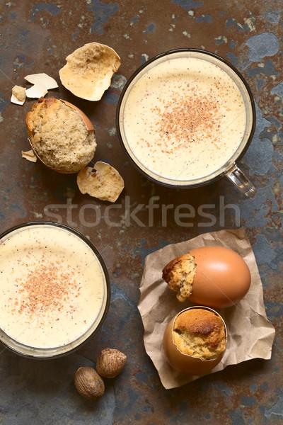 Drinken gebakken eierschaal glas Stockfoto © ildi