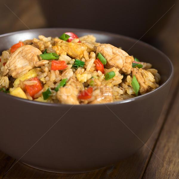 Сток-фото: жареный · риса · овощей · куриные · яйцо · домашний