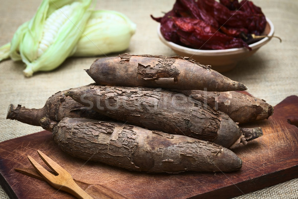 Nyers köteg fa deszka kukorica aszalt forró Stock fotó © ildi