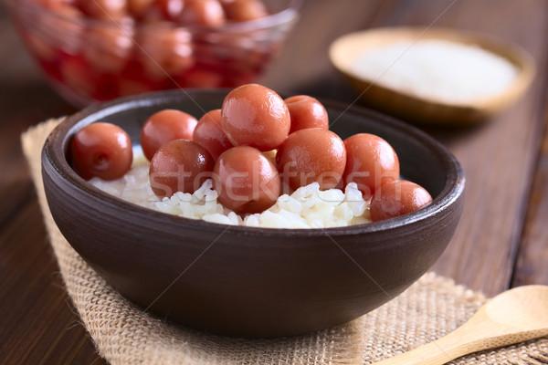 Wiśniowe pudding ryżowy rustykalny puchar ciemne drewna Zdjęcia stock © ildi