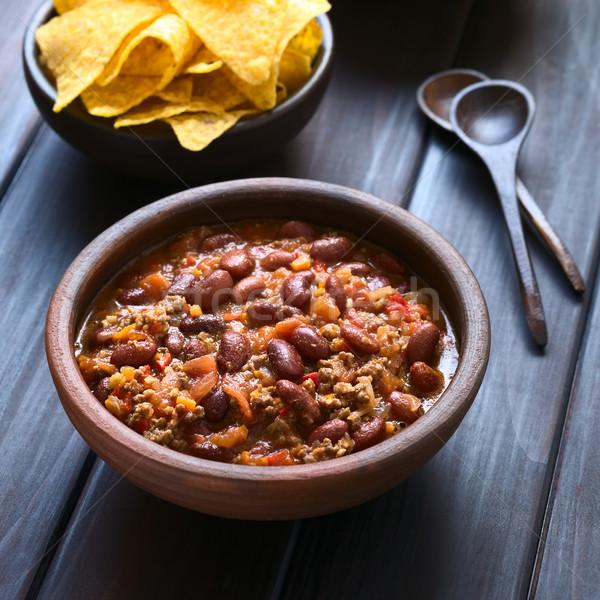 Chili rustiek kom tortilla chips Maakt een reservekopie Stockfoto © ildi