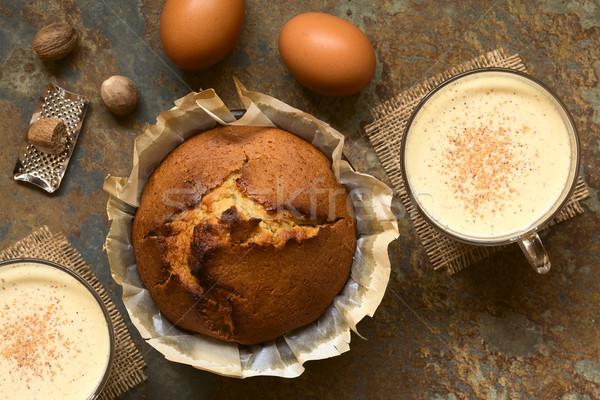 Eggnog Cake and Eggnog Drinks Stock photo © ildi