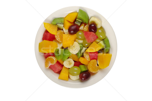 Salade de fruits plaque isolé fruits tropicaux salade blanche Photo stock © ildi