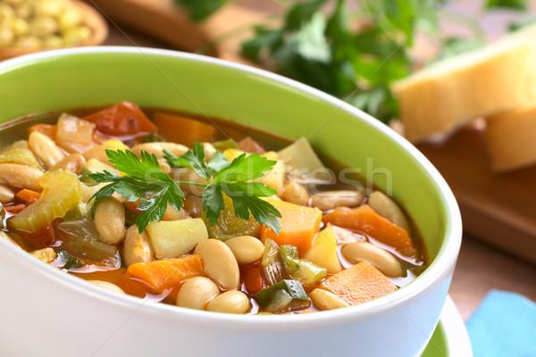 Vegetariano canario sopa de frijol frijoles apio zanahoria Foto stock © ildi