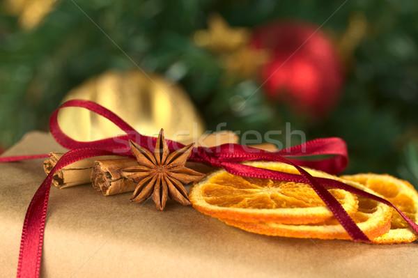Stockfoto: Decoratie · christmas · aanwezig · ingericht · gedroogd · oranje