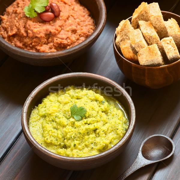 Zucchini-Parsley and Red Kidney Bean Spreads Stock photo © ildi