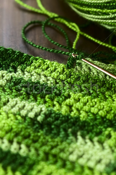 Crochê lugar fora verde fio Foto stock © ildi