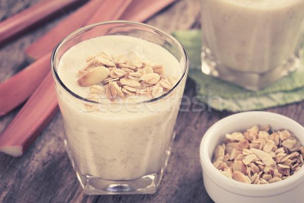 Rhubarb and Yogurt Smoothie with Granola Stock photo © ildi