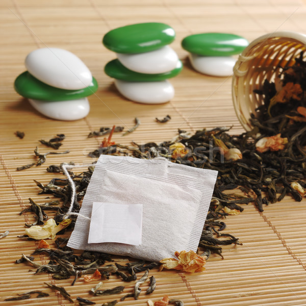 Teabag with Empty Label on Lose Green Tea Stock photo © ildi