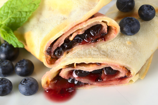 Pancakes Filled with Blueberry Jam Stock photo © ildi