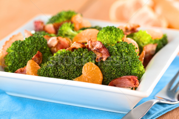 Brócolis mandarim bacon salada fresco caseiro Foto stock © ildi