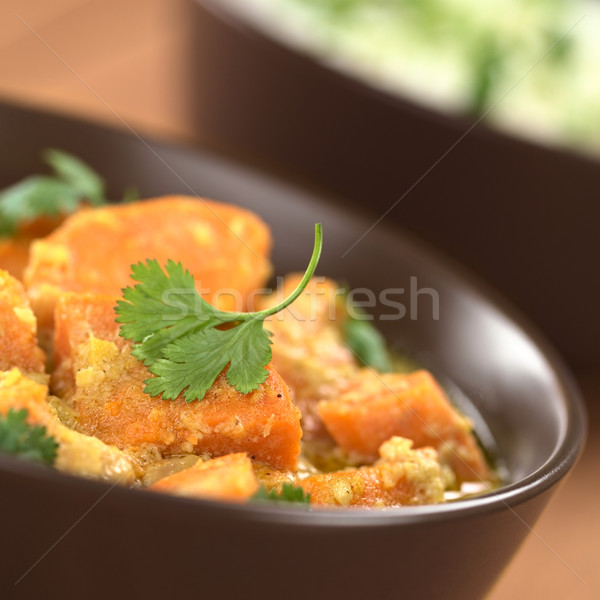 Sweet Potato and Coconut Curry with Cilantro Stock photo © ildi
