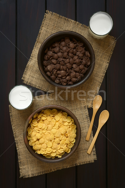 Chocolate and Simple Corn Flakes Breakfast Cereal Stock photo © ildi