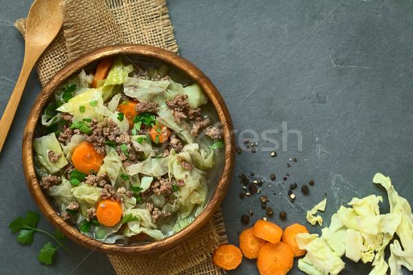 Savoy Cabbage, Carrot, Potato, Mincemeat Stew or Soup Stock photo © ildi